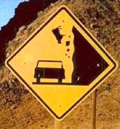 Caution, Falling Cows....how many times did it take before they installed a sign?