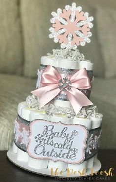 Snowflake Baby It's Cold Outside Diaper Cake, Pink Silver White Winter Wonderland Gir ., Snowflake Baby It's Cold Outside Diaper Cake, Pink Silver White Winter Wonderland Gir . Baby Girl Shower Themes, Baby Shower Cakes, Baby Shower Parties, Snowflake Baby Shower, Christmas Baby Shower, Snowflake Party, Snowflake Cake, Winter Wonderland Centerpieces, Cake Pink