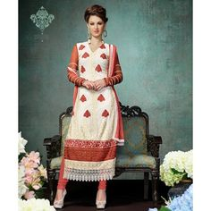 Georgette Thread Work Cream Semi Stitched Straight #Suit  #partywear #salwar #fashion #clothing  #SalwarKameez www.indiarush.com/georgette-thread-work-cream-semi-stitched-straight-suit-2019/