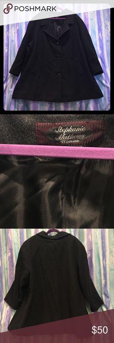 "Stephanie Mathews Woman wool coat plus size 26/28 Stephanie Mathews Woman coat plus size 26/28 dark gray wool fully lined 35"" length Stepanie Mathews Woman  Jackets & Coats"