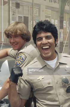 Larry Wilcox as Officer Jon Baker, Erik Estrada as Officer Francis Llewellyn 'Ponch' Poncherello Get premium, high resolution news photos at Getty Images Larry Wilcox, 1970s Tv Shows, Old Tv Shows, Star Trek Posters, Heroes Reborn, Cop Show, Vintage Tv, Classic Tv, Disney Pictures