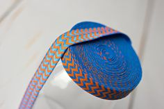 Chevron FOE - Royal Blue and Orange Chevron Print Fold Over Elastic - 5 Yards on Etsy, $4.75