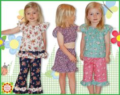 3 Sewing Patterns in one Emily Girls Pants  by DressPatterns4Girls, $7.95