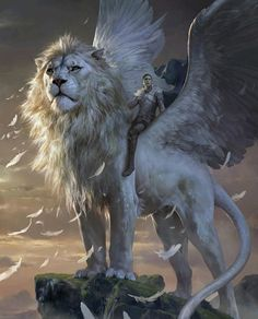 If the face were a little less lion and a little more...almost human...and the wings a little less tangible, this would so be Akhmar. #LostRoadChronicles Sphinx Rider