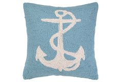 Anchor 18x18 Cotton Pillow, Blue on OneKingsLane.com