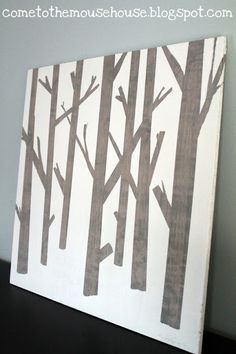 Diy painted wood art, I`ve done this before and it`s extremely easy. Use different size painters tape to create this design  for your wall décor.