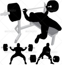 Power lifters exercising vector silhouettes