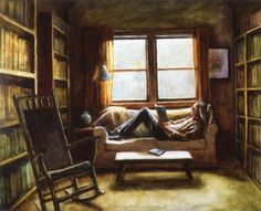 Deborah DeWit, interior library, 2014.  Oil on wood, 24 x 30 in.  Private Coll.