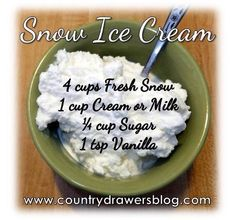 Snow Ice Cream Recipe  Some recipes call for cream or sweetened condensed milk.  Using milk because that's what I have on hand.