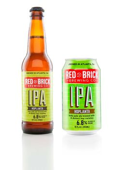 """Red Brick - Hoplanta - American IPA """"Hoppier than a frog in a buggy summer, our flagship American style India Pale Ale tips its cap to the lazy porch days and honey colored skies of a great Southern city. Kick back and enjoy the aroma of citrus with hints of native pine balanced by a crisp malt backbone with a clean finish."""" 