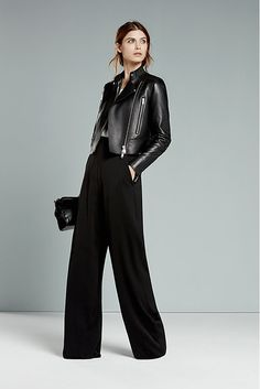 Look 28: Phoebe Bonded Leather Jacket in Black ($1,120); Avaline Wide-leg Trousers in Black ($245) | Autumn/Winter 2016 | www.reiss.com