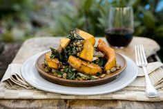 Silverbeet with pumpkin, pinenuts and lentils
