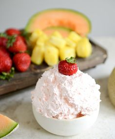 Three Ingredient Fruit Dip |  Yield: serves 4-6 as long as other appetizers are around  Total Time: 5 minutes  Ingredients:  12 ounces of Cool Whip 1 (3.4 ounce) box of instant coconut cream pudding mix 2-3 tablespoons of coconut rum  optional: a drop of pink food coloring  assorted fruit for dipping!  Directions:  Combine all ingredients in a giant bowl and mix. Electric mixer = more creamy.