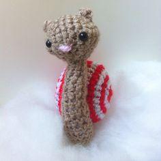 Santa's Little Helper amigurumi  crochet sparkly Christmas snail - stocking stuffer by ThePigeonsNestUK on Etsy