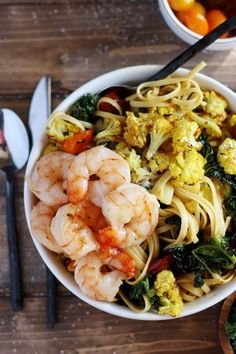 Roasted Turmeric Cauliflower, Kale and Shrimp Pasta   Brown Butter - easy enough for a weeknight, but delicious enough for a weekend dinner party!