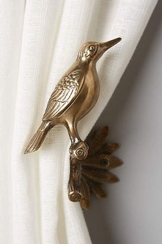 Gilded Aviary Tieback by Anthropologie in Brown, Hardware Easy Home Decor, Cheap Home Decor, Decorative Accessories, Home Accessories, Decorative Accents, Bird House Kits, Deco Originale, Curtain Ties, Metal Curtain Tie Backs