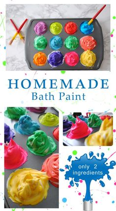 """The best advice I received as a new parent - came from my Grandmother. """"When all else fails, give them a bubble bath"""" I upped the bath game with this easy non-toxic shaving cream homemade bath paint recipe - using only 2 ingredients! Homemade bath paint for kids is so much fun, they will cherish the memory! Fun Crafts For Kids, Baby Crafts, Toddler Crafts, Projects For Kids, Diy For Kids, Ghost Crafts, Frog Crafts, Home Made Paint For Kids, Crafts For 2 Year Olds"""