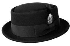 2e9abc6784e Black Friday Mens Crushable Wool Felt Porkpie Hat w Feather Bk-L XL from Inc