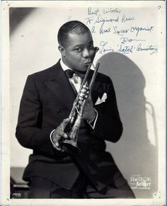 """Louis Armstrong Original Autographed Photo 1930's... photo was autographed for a Sigmond Ross - and inscribed, """"Best Wishes to Sigmond Ross, a Real 'Swing' Organist, from Louis 'Satch' Armstrong…"""