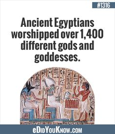 eDidYouKnow.com ►  Ancient Egyptians worshipped over 1,400 different gods and goddesses. Did You Know Facts, The More You Know, Interesting History, True Facts, Gods And Goddesses, Ancient Egypt, Trivia, Worship, The Past