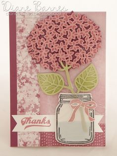 Hydrangea flower card using Stampin Up Thoughtful Branches & Jar of Love bundle. By Di Barnes 2016 annual catalogue Mason Jar Cards, Mason Jars, Love Jar, Stampin Up Catalog, Valentine Day Love, Fall Cards, Flower Cards, Homemade Cards, Stampin Up Cards