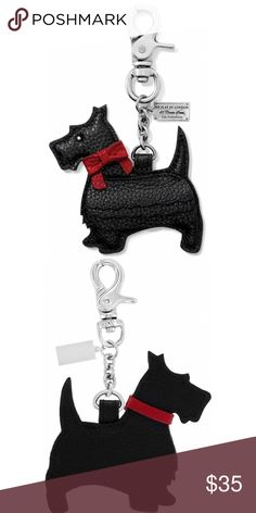 """Brighton Collectibles Scotty Luv Handbag Fob Width: 2 1/2"""" Height: 2 3/4"""" Material: Leather Features: Handbag hook Charms & Fobs Type: Fun and Fashionable Brighton Accessories Key & Card Holders"""