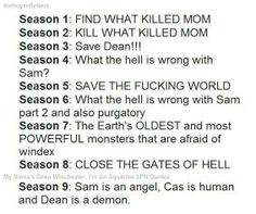 Season 10: SAVE THE FUCKING WORLD AGAIN BUT THIS TIME FROM GOD'S HOT SISTER THAT DEAN IS ATTRACTED TO