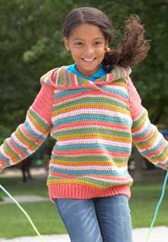 Blocks of color and bold stripes combine in this fun hoodie.