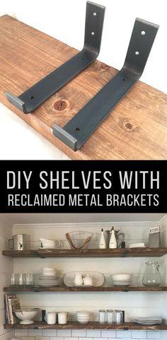 Custom Hook Shelf Bracket, Handcrafted Rustic Reclaimed Salvaged Hook Metal Steel, decorative wall shelve Storage Strap Angle Lip #affiliate