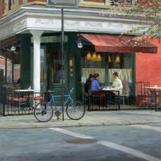 Paul Schulenburg, Table for Three, oil on canvas, 24 x 24. http://www.schulenburgstudio.com/