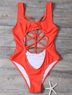 U Neck Cut Out Cropped One-Piece Swimwear 20.99 USD