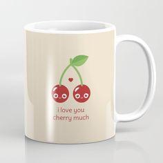 I Love You Cherry Much Mug - pun, puns, cherry, cherries, fruit, food, funny, cute love, relationship, tasteful, tasty, relationships, valentine, valentines, vector, art, illustration, drawing, design