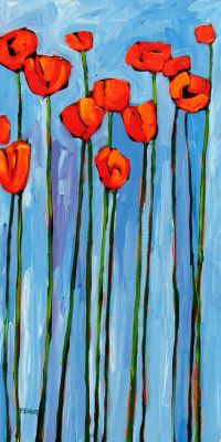 poppies on blue