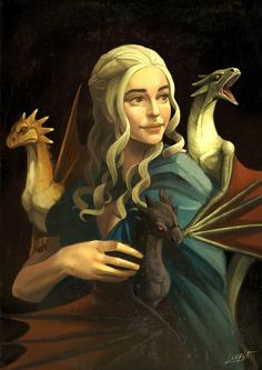 """This artwork is a parody of a famous painting called """"Lady with an Ermine"""". I wanted to practice this kind of painting style. Game of Thrones © HBO, George R. Game Of Thrones Gifts, Game Of Thrones Dragons, Game Of Thrones Art, Fantasy Kunst, Fantasy Art, Daenerys Targaryen Art, Lady With An Ermine, Art Folder, Dragon Games"""