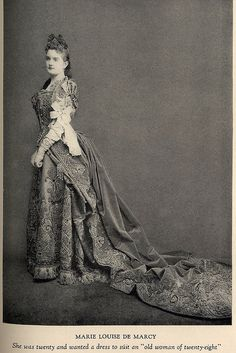"Marie Louise deMarcy in Worth gown  From the book ""A Century of Fashion"" by Jean-Philippe Worth, 1928."