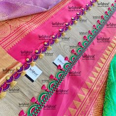 Customised Saree Kuchu & Pallu designs handcrafted to complement your precious silk sarees for celebrating your once in a life time events. Krishne's designer tassel kuchus are our premium offering that are crafted using a combination of handcraft techniques like Aari, Crochet, Tatting, Hand Embroidery, Maggam, Zardozi etc and are in the price range of ₹ 500 ~ 6000. Click www.krishnetassels.com/tassels to see all the kuchu types, price range & whatsapp +91 9916253832 to place your order.. Saree Tassels Designs, Saree Kuchu Designs, Blouse Designs, Wedding Silk Saree, Signature Design, Silk Sarees, Hand Embroidery, Tatting, Bridal