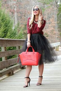 Tulle skirt and flannel shirt; tip: the fancy and cute necklace make the shirt fits with the entire look even the heels