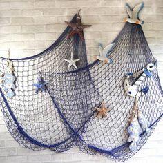 Mediterranean Style Decorative Fish Net With Shells Blue White - Banggood Mobile