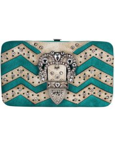Turquoise and Beige Chevron Buckle Flat Wallet