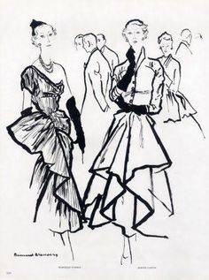 Jeanne Lanvin A/H (à gauche Marcelle Dormoy). Fashion Illustration Sketches, Fashion Design Sketches, Fashion Drawings, Design Illustrations, Jeanne Lanvin, 1940s Vintage Dresses, Fountain Pen Drawing, Fashion Art, Vintage Fashion