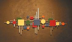 Abstract Metal Sculpture Wall Art Squares Circle Color Retro US Artist