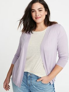 8ce1a2c18e217 Plush-Knit Open-Front Plus-Size Sweater in 2019