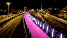 Redundant motorway infrastructure turned into a sculptural and playful cycle path #auckland #newzealand #cyclepath #bikepath #raised #elevated #pink