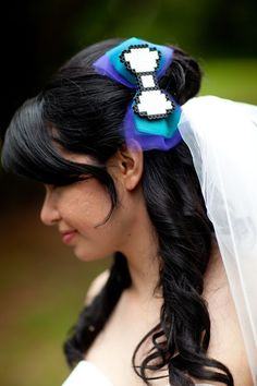 Pixelated and tulle hair bow