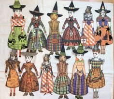 Halloween paper dolls by Shannon Benedetti and Sheila Polio (sisters). character construction Stamps