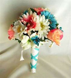 Beach Wedding Flower Package Teal Coral Custom Deposit for Tracy
