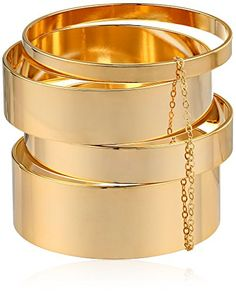 max Four-Piece Gold-Plated Brass Wide Bangle Bracelet. Four-piece stacked bangle set faceted from gold-plated brass hardware. Gold Bangle Bracelet, Bangle Set, Gold Bracelets, Bracelet Set, V Max, Gold Plated Bangles, Gold Jewelry, Jewellery, Bag Accessories