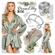"""DRESSLILY x DEZZAL: Wrap satin dress!"" by vn1ta ❤ liked on Polyvore featuring POL"