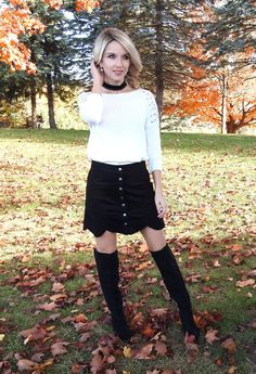 Fall/winter outfit - pretty suede button down scalloped skirt, OTK boots and choker necklace