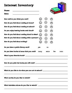 I use this survey during my initial reading conferences. It is a great way to get to know my students& reading interests. Reading Interest Inventory, Reading Interest Survey, Reading Survey, 2nd Grade Reading, Student Reading, Teaching Reading, Student Survey, Career Survey, Reading Conference
